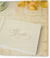 Guestbook On A Table Wood Print by Ned Frisk