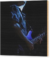 Guitarist In Blue Wood Print
