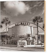 Gulfport Casino In Sepia Wood Print