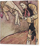 Gulliver In Brobdingnag Kissing The Hand Of The Queen Wood Print
