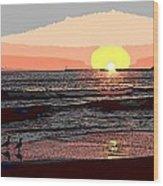 Gulls Enjoying Beach At Sunset Wood Print