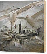 Gulls In The Harbor Wood Print