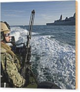 Gunner Mans A .50-caliber Machine Gun Wood Print