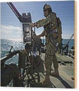 Gunner Mans A M240 Machine Gun Wood Print