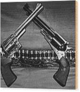Guns In Black And White Wood Print