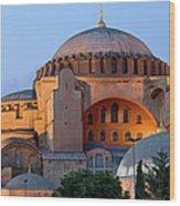 Hagia Sophia At Dusk Wood Print by Artur Bogacki