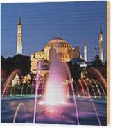 Hagia Sophia At Night Wood Print by Artur Bogacki