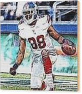 Hakeem Nicks - Sports - Football Wood Print by Paul Ward