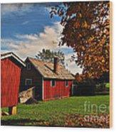 Hale Farm In Autumn Wood Print