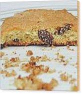 Half Cookie And Crumbs In Plate Wood Print