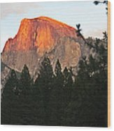 Half Dome Alpenglow Wood Print