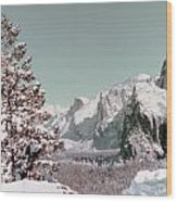 Half Dome In The Snow Wood Print