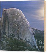 Half Dome Moon Rise Wood Print