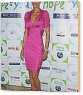 Halle Berry Wearing A Dress By Roberto Wood Print