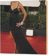 Halle Berry  Wearing A Nina Ricci Gown Wood Print