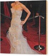 Halle Berry Wearing Marchesa Dress Wood Print by Everett