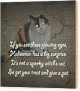 Halloween Calico Cat And Poem Greeting Card Wood Print