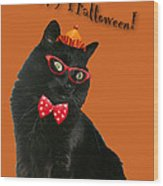 Halloween Card - Black Cat Ready To Party Wood Print