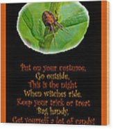 Halloween Card - Spider And Poem Wood Print