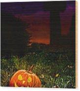 Halloween Cemetery Wood Print