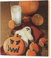 Halloween Cookies With A Glass Of Milk Wood Print