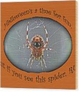 Halloween Greeting Card - Marbled Orb Weaver Spider Wood Print
