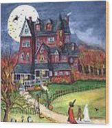 Halloween Haunted Mansion Wood Print by Iva Wilcox