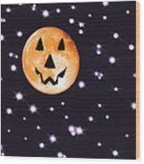 Halloween Night - Moon And Stars Wood Print