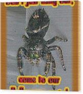 Halloween Party Invitation - Salticid Jumping Spider Wood Print