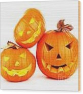 Halloween Pumpkin Background Wood Print