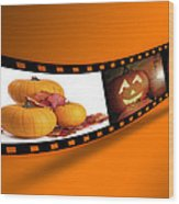 Halloween Pumpkin Film Strip Wood Print by Amanda Elwell