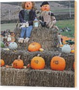 Halloween Pumpkin Patch 7d8476 Wood Print by Wingsdomain Art and Photography