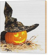 Halloween Pumpkin With Witches Hat Wood Print