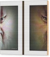 Halloween Self Portrait - Gently Cross Your Eyes And Focus On The Middle Image Wood Print