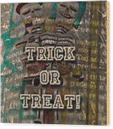Halloween Trick Or Treat Skeleton Greeting Card Wood Print