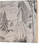 Halloween Witch Walk Wood Print