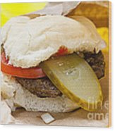Hamburger With Pickle And Tomato Wood Print
