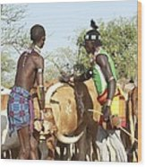 Hamer Tribe Jumping Of The Bulls Ceremony Wood Print