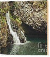 Hana Waterfall Wood Print by Scott Pellegrin