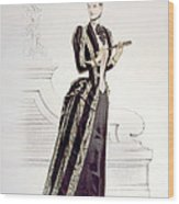 Hand-colored Engraving Of A Woman Wood Print by Everett