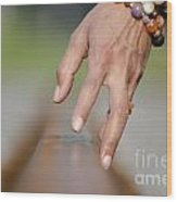 Hand Touching A Railroad Track Wood Print