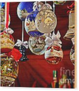 Handcrafted Mouth Blown Christmas Glass Balls Wood Print