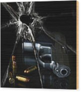Handgun Bullets And Bullet Hole Wood Print