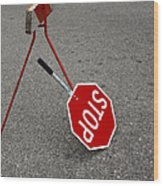 Handheld Stop Sign Wood Print by Marlene Ford