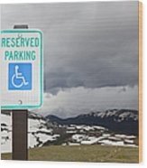 Handicap Parking Sign At A National Park Wood Print
