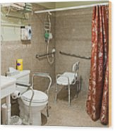 Handicapped-accessible Bathroom Wood Print by Andersen Ross
