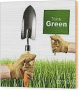 Hands Holding Garden Trowel And Sign Wood Print