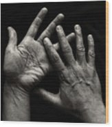 Hands On Black Background Wood Print by Luigi Masella
