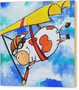 Hang Glider Cow Wood Print by Scott Nelson
