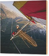 Hang Gliding With Wing-mounted Camera Wood Print
